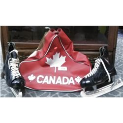 Pair Of Vintage Ice Skates In Canada Carrying Case