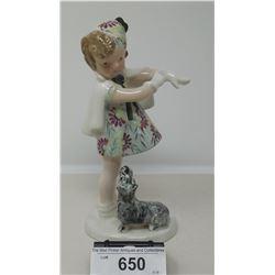 Vintage Porcelain Figurine Girl With Dog