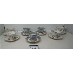 7 Vintage Tea Cups And Saucers
