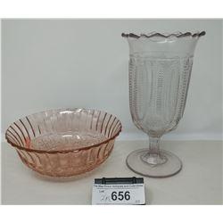 2 Piece Depression Glass, 1 Bowl, 1 Tumbler