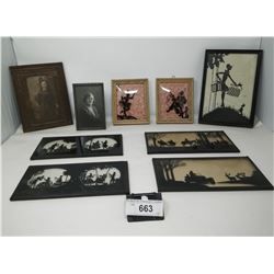 9 Pictures, 6 Are Reverse Painted On Glass
