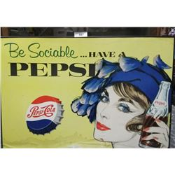 Early Cardboard Pepsi Advertisement Framed With Water Damage
