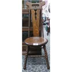 Early Carved High Back Chair With Barley Twist Legs