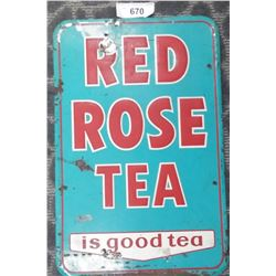Early Embossed Red Rose Tea Tin Sign