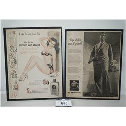 2 Vintage Advertisements On Cardboard