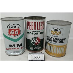 3 Collectible Oil Cans, Ba, Mohawk, Hwy 66