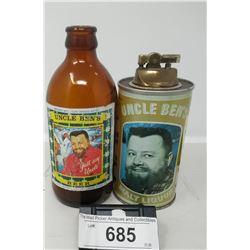 Vintage Uncle Bens Beer Lighter And Bottle