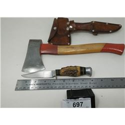 Vintage Hatchet With Knife