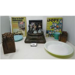 Box Of Misc Collectibles, Wooden Coat Racks, Large Candle Holder, Misc Cups And Saucers, Star Wars T