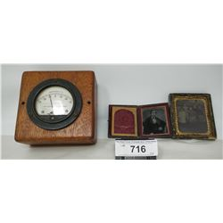 Vintage Amp Gauge With Wooden Box And 2 Vintage Tin Type Pictures