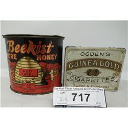 2 Vintage Tins, One Ogden'S Cigarettes, Beekist Honey Tin