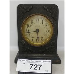 Vintage Late Victorian Alarm Clock Iron Clad With Bell