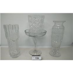 4 Piece Collectible Glass And Crystal, 2 Vases, Candy Dish, Small Vase