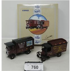 Corgi Commercial L M S Set Aec Cabover And Thorny Croft Van In Box