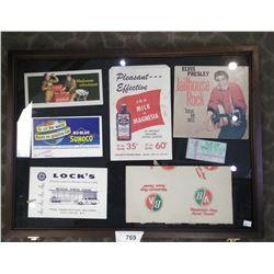 Misc Advertisements, Coca Cola Ink Blotters, Elvis 45, Ba, Etc.. With Opening Display Case