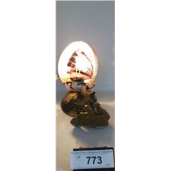 Vintage Abalone Shell Lamp And Vintage Military Toy Side Car With Soldiers