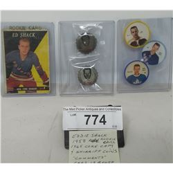 Eddie Shack 1958 Rookie Card 1965 Coke Caps And Sheriff Coins