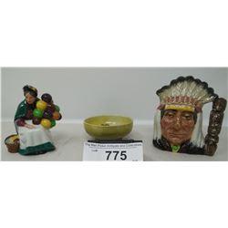 Moorcroft Bowl, Royal Doulton Toby Jug Indian Head, Royal Doulton Balloon Lady