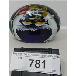 Large Art Glass Paper Weight With Fish