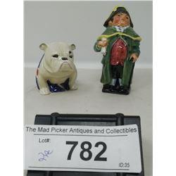 Vintage Royal Doulton Bulldog With British Flag And Royal Doulton Bumble Figurine