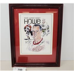 Gordie Mark And Marty Howe Autographed Print With Coa 1990