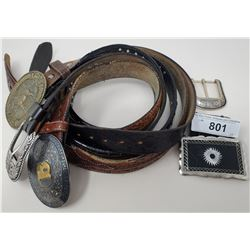 3 Vintage Western Belts With Buckles With 2 Other Buckles