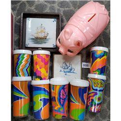 Box Of Vintage 70S Tumblers, Plastic Piggy Bank, 2 Pictures