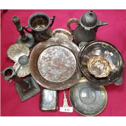 Large Box Of Misc Silver Plate, Pewter, Pieces, Etc..