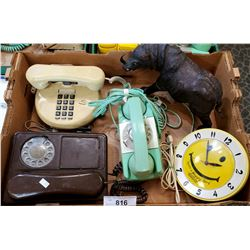 3 Vintage Telephones, 2 Rotary's, 1 Pushbutton, Smiley Face Clock