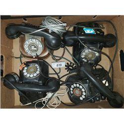 4 Vintage Bakelite Rotary Telephones