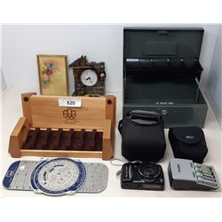Box Of Misc Coin Holders, Camera, Cash Box, Etc..