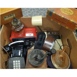 Misc Collectibles, Coffee Grinder, Oil Lamp, Cigar Box, Etc..