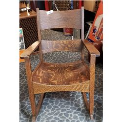 Early Quarter Sawn Oak Arts And Crafts Rocking Chair