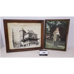 2 Vintage Framed Prints, One Of Old House, Boy Fishing
