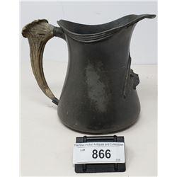 Vintage Pewter Mug With Deer Antler Handle