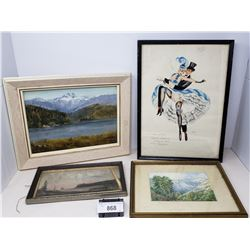 8 Water Color Oil Paintings All Framed