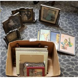 Large Box Of Misc Pictures And Blank Frames