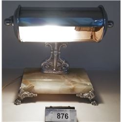 Art Deco Desk Lamp Chrome With Marble Base And Metal Lions Feet