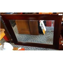 Large Wooden Framed Bevelled Mirror