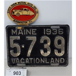 1936 Main Vacation Land License Plate With State Farm Auto Insurance License Plate Topper