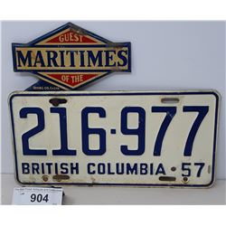 1957 British Columbia License Plate With Irving Gas Company Maritines License Plate Topper