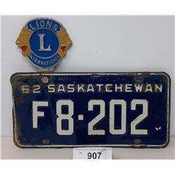 1962 Saskatchewan License Plate With Lions Internation License Plate Topper
