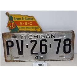 1945 Michigan License Plate With A Alemite Brigadiers Club License Plate Topper