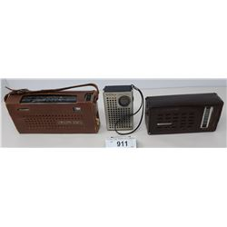 3 Transistor Radios, 2 Have Leather Cases