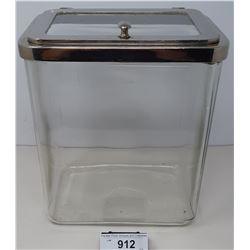 Large Glass And Chrome Lid Medical Jar