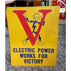 Vintage Cardboard Electric Power works For Victory Advertisement