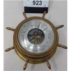 Vintage Brass Ships Wheel Barometer