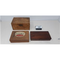 2 Wooden Boxes, Cigar Box With Marbles, And Box Full Of Pins
