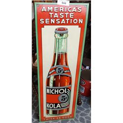 Rare Early 5C Nichol Cola Embossed Sign, Rare Color