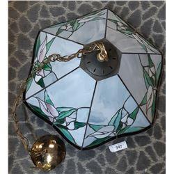 Vintage Stain Glass Hanging Chandelier Light